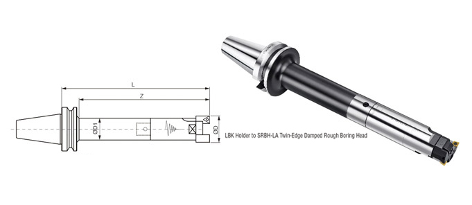 LBK Holder to SRBH-LA Twin-Edge Damped Rough Boring Head
