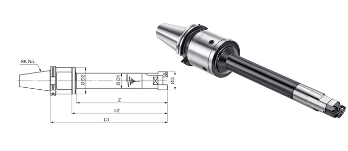 SK Holder to LBK Integrated Modular Damped Rough Boring Tool